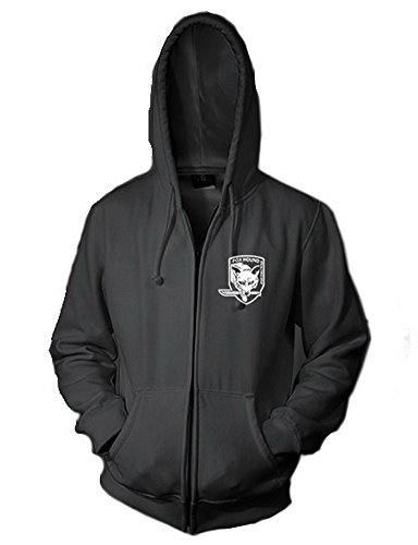 XCOSER Mens Foxhound Pattern Hooded Sweatshirt Zip Front (Fox And The Hound Halloween Costumes)