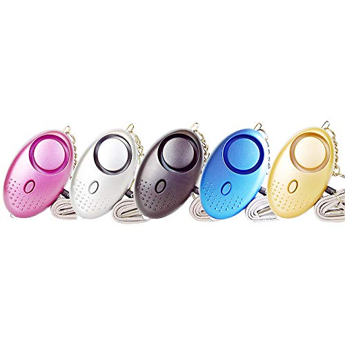 Myprincess Portable Self Defense Personal Alarm 5 Pack 130DB Safe Sound Personal Security Alarm Keychain with LED Lights,Emergency for Women,Men,Student,Elderly,Children