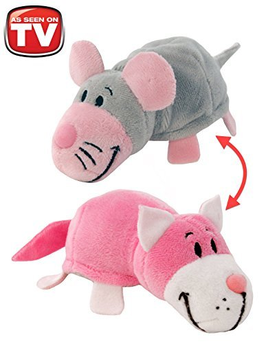 FlipaZoos Little FlipZee 5 Pocket Size Plush Figure - Pink Cat Transforming To Mouse (the Toy That Flips For You)
