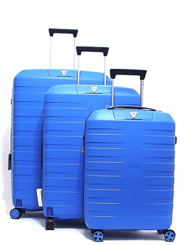 Roncato set tre trolley viaggio, Box 5510-0118 trolley cabina+trolley medio+trolley grande rigidi in polipropilene, colore cielo