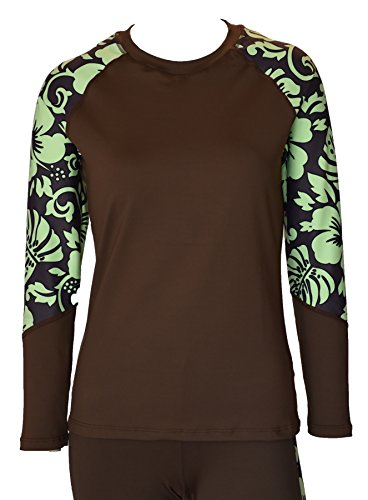 - Private Island Hawaii Women UV Wetsuits Long Raglan Sleeve Rash Guard Top Brown with Green XX-Large