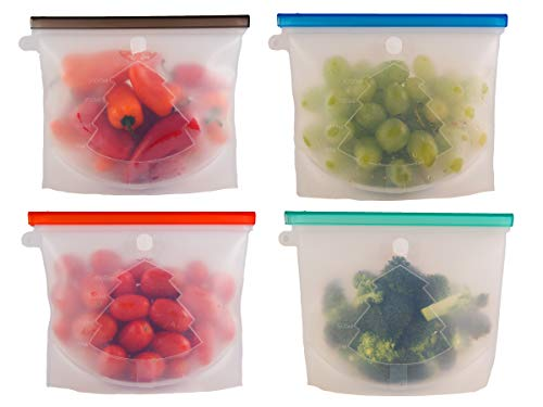 Design Silicone New (Reusable Silicone Food Storage Bag Set of 4 | Zip Seal | GREAT for Cooking, Preserving, Oven, Microwave, Freezer | BEST for Lunch, Snack, Vegetable, Meat | Container Bags | UPGRADED Product/New Design)