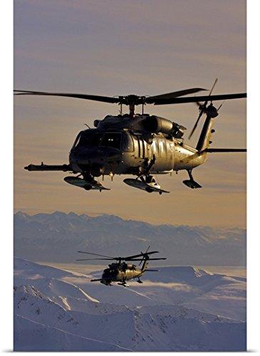 Alaska Air National Guard (greatBIGcanvas Poster Print entitled Two Alaska Air National Guard HH-60G Pave Hawks in flight over Alaska by Stocktrek Images 24