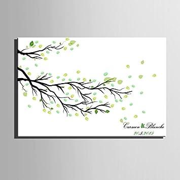 Amazon De Fingerabdruck Hochzeit Baum Zweige Signature Leinwandbild