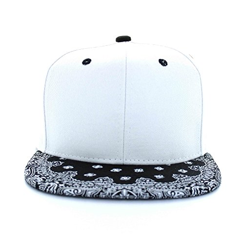 Armycrew Blank Bandana Print Flat Bill Two-Tone Adjustable Snapback Cap - White Black
