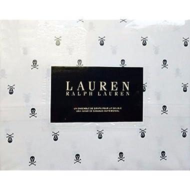 Ralph Lauren Black Skulls and Crossbones on White Pillowcases Standard