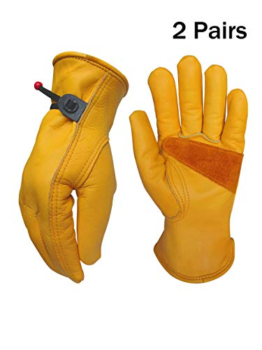 ((Large (2 Pair)) Leather Work Gloves for Gardening/Cutting/Construction/Motorcycle/Farm, Men & Women, Cowhide Work Gloves )