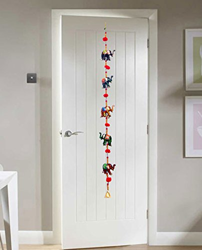 Door Hanging Decorative Five Hand Painted Elephant Stringed Together with Beads and Brass Bell
