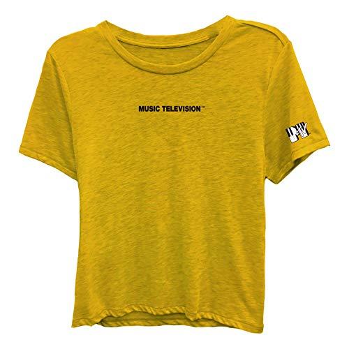 MTV Ladies Short Sleeve Shirt - #TBT Ladies 1980's Clothing - I Want My Logo Embroidered Tee (Ivory, X-Large)