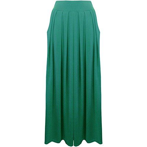 Uni pliss pour femme Taille lastique Poches Desire Clothing Maxi jupe emraude