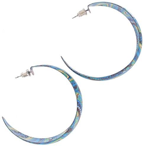 - Pierced Earrings Hoop Enamel Flower Floral Print Blue Black Green Yellow 1 3/4