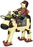 Williraye Moo-Ry Racers Cow on Skis with Little Snowman & Lamb Figurines