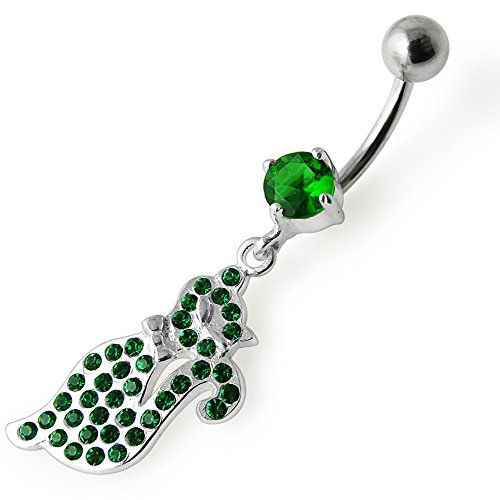 Dangling Navel Jewelry (Emerald Green Multi Crystal Stone Lovely Cat Dangling 925 Sterling Silver Belly Button Ring Jewelry)
