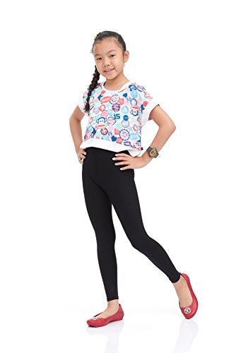 Nom Girls Legging Long Leg Perfect Fit Variety of Colors Small size black (Leggings Kids)