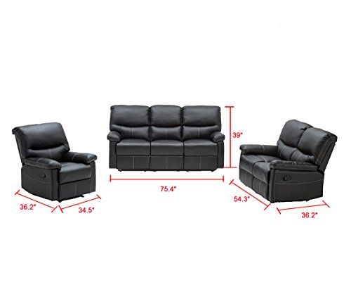 3 PCS Motion Sofa Loveseat Recliner Sofa Set Living Room Bonded Leather Furniture