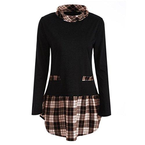 iYBUIA Women Autumn Winter Long Sleeve Plaid Patchwork Plus Size Tops Blouse T-Shirts(Brown,XXXXXL) (Jersey Sleeveless Lined)