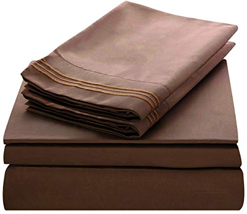 - Lux Decor Collection Bed Sheet Set - Brushed Microfiber 1800 Bedding - Wrinkle, Stain and Fade Resistant - Hypoallergenic - 4 Piece (Queen, Chocolate)