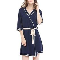 NORA TWIPS Womens Bathrobe Soft Kimono Cotton Knit Robe Piping Sleepwear XS-XL