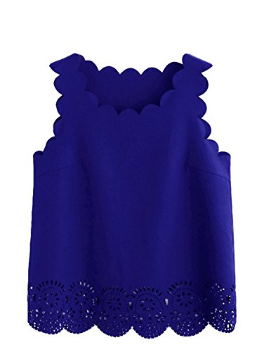 MakeMeChic Women's Casual Plain Hollow Scallop Sleeveless Blouse Top Blue L