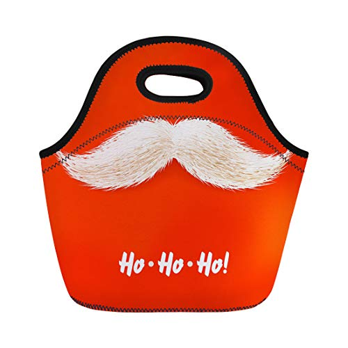 Semtomn Lunch Tote Bag Happy Santa Mustache Claus Holiday Xmas Beard Party Year Reusable Neoprene Insulated Thermal Outdoor Picnic Lunchbox for Men Women]()