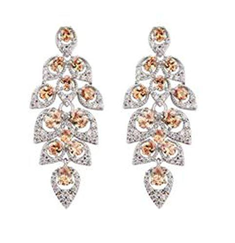 [Women Stud Earrings Gold Plated Champagne Cubic Zirconia Maple Leaf Teardrop Earring for Women by] (Green Arrow Hoodie Costume)