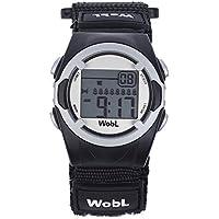 WobL Klocka – barn 8-alarm vibrerande påminnelseklocka, potträningsverktyg (svart)