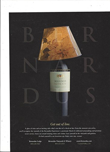 Magazine Advertisement For 2007 Bernardus Marinus Wine Get Out Of Line