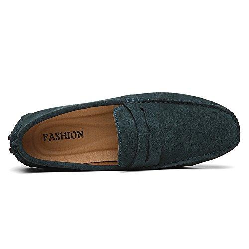 de Piel Verde Hombre Zapatos Loafer Casual para Mocasines DUORO Planos OSw5xqE