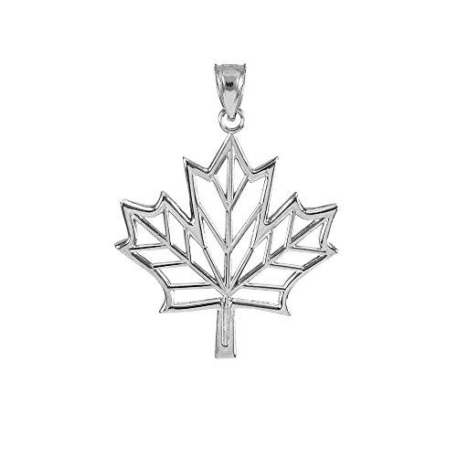 Polished 925 Sterling Silver Maple Leaf Open Design Pendant