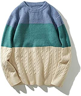 WSDMY Sweatshirt Shirt Pantalon en Tissu Veste de d/écontract/é r/étro Contrastante pour Jeune Homme /à Coutures imprim/ées /à col roul/é