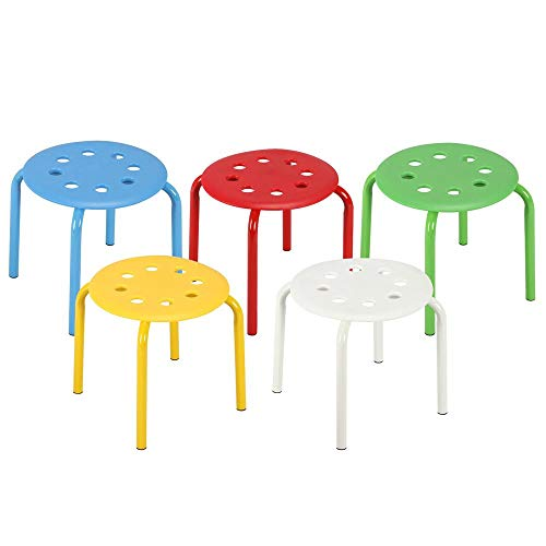 (Topeakmart Classroom Stools for Kids Portable Plastic Stack Stackable Stools Bar Stools School Chairs (Pack of 5))