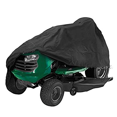 """Lawn Mower Cover, FLYMEI Premium Tractor Cover Fits Decks up to 54"""" Storage Cover Heavy Duty, Durable, UV and Water Resistant All Season Protection, Black"""