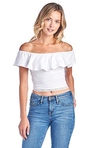 Women's Sleeveless Ruffle Flounce Off Shoulder Lace Hem Tube Cotton Crop Top (Medium, White) by Khanomak