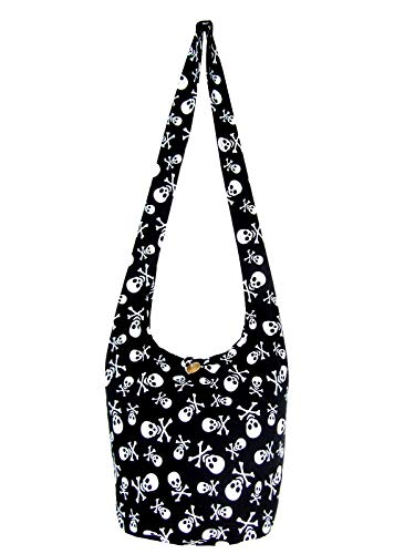 Fully Lined Skull Hippie Hobo Sling Crossbody Shoulder Bag Medium Black Blue Orchid ()