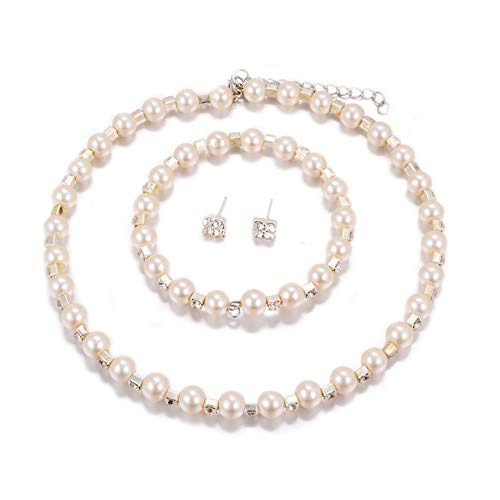 Yuhuan Simulated Pearl Choker Necklace Earrings Bracelet Set for Women Elegant Bridal Wedding Jewelry Girls Gift -