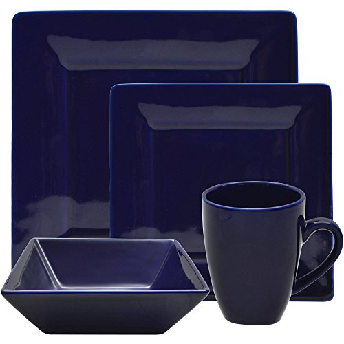 10 Strawberry Street 16 Piece Nova Square Dinner Set, Cobalt