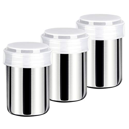 Powdered Sugar Shaker With Lid-3Pack, Stainless Steel Mesh Powder Shaker Duster