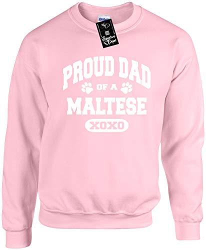 Signature Depot Unisex Funny Crewneck Sz M (Proud Dad of a Maltese (Dog) Sweatshirt