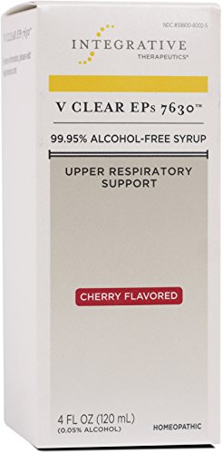 Integrative Therapeutics - V Clear EPs 7630 - Homeopathic Cold Medicine - Upper Respiratory and Lung Health Support - 99.95% Alcohol-Free Syrup - Cherry Flavored for Children and Adults - 4 fl oz Homeopathic Support