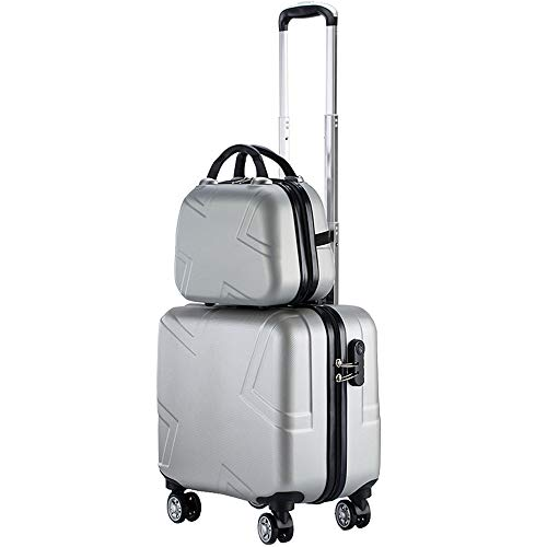 (BMHFF Hardshell Luggage Makeup Case 2 Piece Airport Lightweight Carry-On Suitcase 8 Spinner Wheel Durable Trolley Case for Men and Women,Silver)