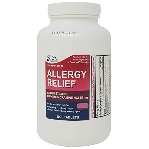 Allergy Relief Diphenhydramine HCl 25mg 1000 Tablets | Relief for Itchy-Watery Eyes, Sneezing, Runny Nose | Indoor & Outdoor Allergies