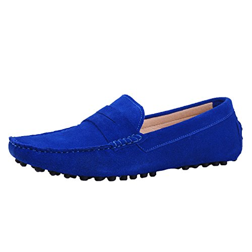 on Comfortable Nubuck Mens Leather Loafer Blue Moccasins Santimon Shoes Slip Shoes Driving 5x0Oww7n