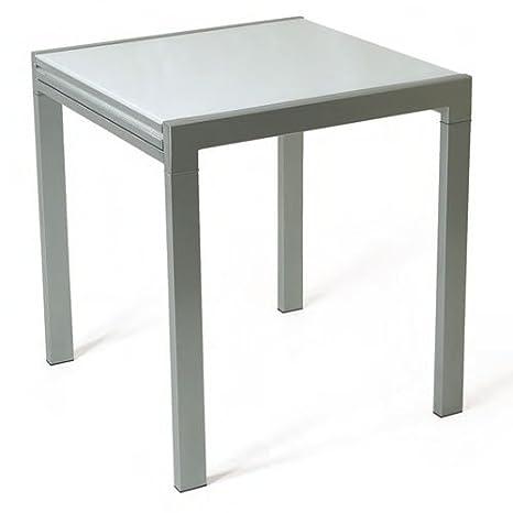 Tavolo allungabile vetro temperato bianco cm 70 x 70: Amazon.it ...