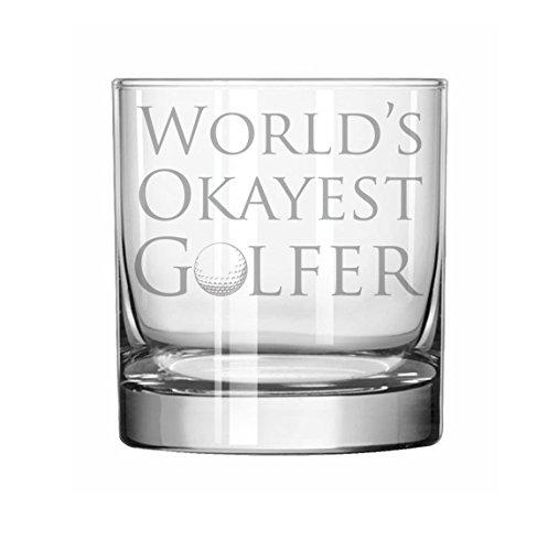 11 oz Rocks Whiskey Highball Glass Funny World's Okayest - Glasses Golfers For