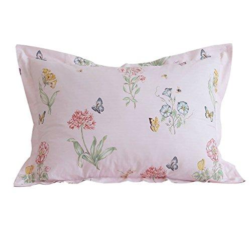 FADFAY Cotton Decorative Pillow Shams Pink Butterfly Meadow Print Pattern Pillow Covers,Standard size 2 (Butterfly Garden Standard Sham)
