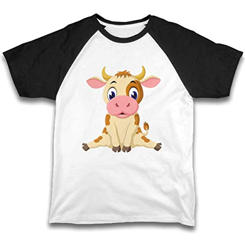 CUSARTSHOP Cartoon Baby Cow Baby Boys Short Sleeve Cotton T-Shirts Funny Toddler Infant Kids Casual Tee Black