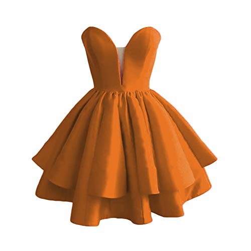 Prom Dreagel Bridesmaid Sweetheart Party Homecoming Satin A Short Orange Gowns line Juniors Dress qIaHwZIr