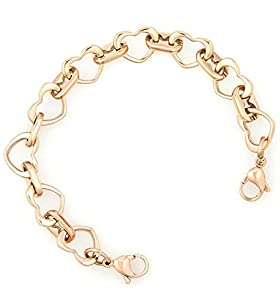 Ladies Rose Gold Stainless Open Heart Medical ID Replacement Bracelet