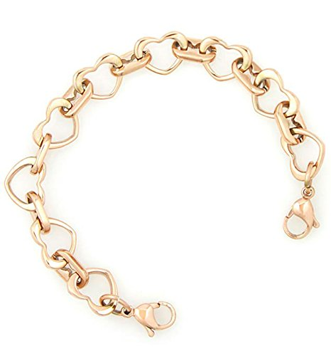 Ladies Rose Gold Stainless Open Heart Medical ID Replacement Bracelet - Strand Open Bracelet Heart