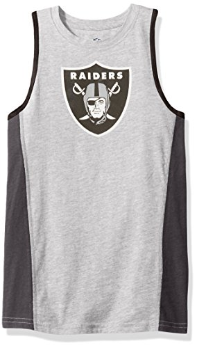 Oakland Raiders Tank - NFL Oakland Raiders Youth 8-20 Fan Gear Tank Top, Medium (10-12), Heather Grey
